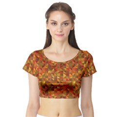 Gold Mosaic Background Pattern Short Sleeve Crop Top (tight Fit)
