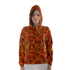 Gold Mosaic Background Pattern Hooded Wind Breaker (women) by Nexatart