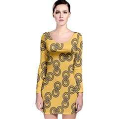 Abstract Shapes Links Design Long Sleeve Velvet Bodycon Dress