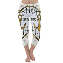 Anchor Heart Capri Winter Leggings  by Nexatart