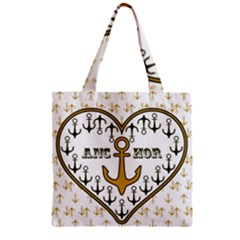 Anchor Heart Zipper Grocery Tote Bag