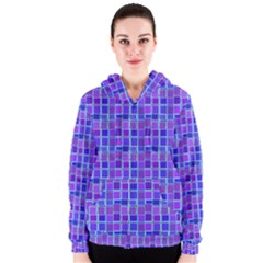 Background Mosaic Purple Blue Women s Zipper Hoodie