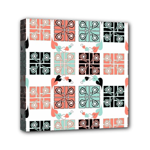 Mint Black Coral Heart Paisley Mini Canvas 6  X 6  by Nexatart