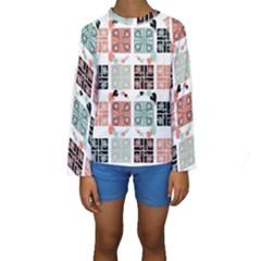 Mint Black Coral Heart Paisley Kids  Long Sleeve Swimwear