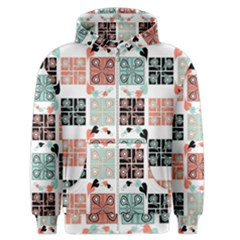 Mint Black Coral Heart Paisley Men s Zipper Hoodie