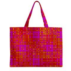 Pink Orange Bright Abstract Zipper Mini Tote Bag