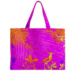 Spring Tropical Floral Palm Bird Zipper Mini Tote Bag by Nexatart