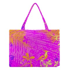 Spring Tropical Floral Palm Bird Medium Tote Bag by Nexatart