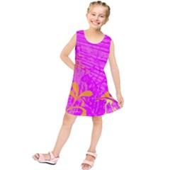 Spring Tropical Floral Palm Bird Kids  Tunic Dress