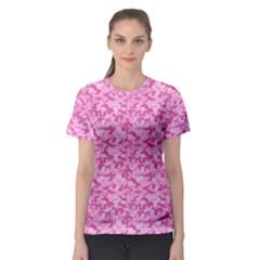 Shocking Pink Camouflage Pattern Women s Sport Mesh Tee