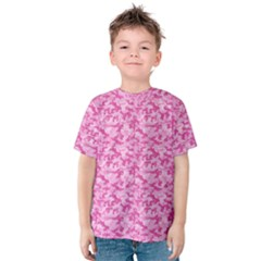 Shocking Pink Camouflage Pattern Kids  Cotton Tee