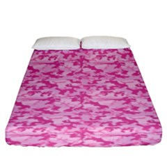 Shocking Pink Camouflage Pattern Fitted Sheet (king Size)