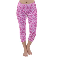 Shocking Pink Camouflage Pattern Capri Winter Leggings  by tarastyle