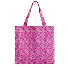 Shocking Pink Camouflage Pattern Zipper Grocery Tote Bag