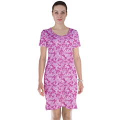 Shocking Pink Camouflage Pattern Short Sleeve Nightdress