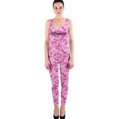 Shocking Pink Camouflage Pattern Onepiece Catsuit