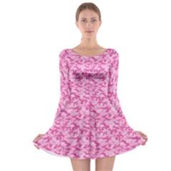 Shocking Pink Camouflage Pattern Long Sleeve Skater Dress