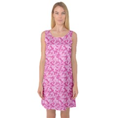 Shocking Pink Camouflage Pattern Sleeveless Satin Nightdress