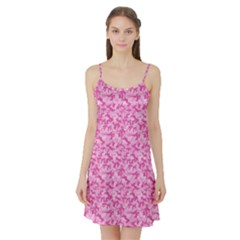 Shocking Pink Camouflage Pattern Satin Night Slip