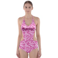 Shocking Pink Camouflage Pattern Cut Out One Piece Swimsuit