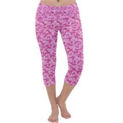 Shocking Pink Camouflage Pattern Capri Yoga Leggings