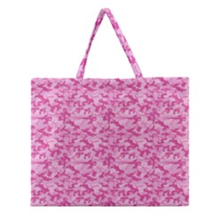 Shocking Pink Camouflage Pattern Zipper Large Tote Bag by tarastyle