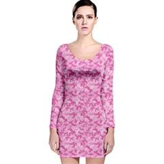 Shocking Pink Camouflage Pattern Long Sleeve Velvet Bodycon Dress