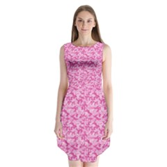 Shocking Pink Camouflage Pattern Sleeveless Chiffon Dress