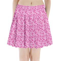Shocking Pink Camouflage Pattern Pleated Mini Skirt