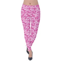 Shocking Pink Camouflage Pattern Velvet Leggings by tarastyle