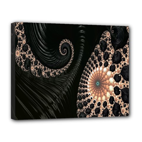 Fractal Black Pearl Abstract Art Canvas 14  X 11  by Nexatart