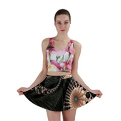 Fractal Black Pearl Abstract Art Mini Skirt