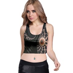 Fractal Black Pearl Abstract Art Racer Back Crop Top