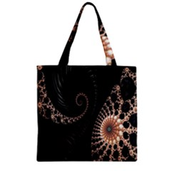Fractal Black Pearl Abstract Art Zipper Grocery Tote Bag