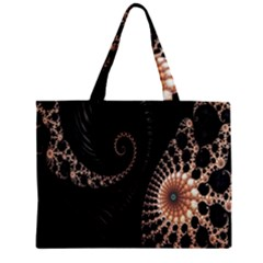 Fractal Black Pearl Abstract Art Zipper Mini Tote Bag by Nexatart