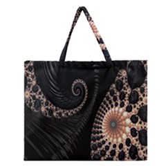 Fractal Black Pearl Abstract Art Zipper Large Tote Bag by Nexatart