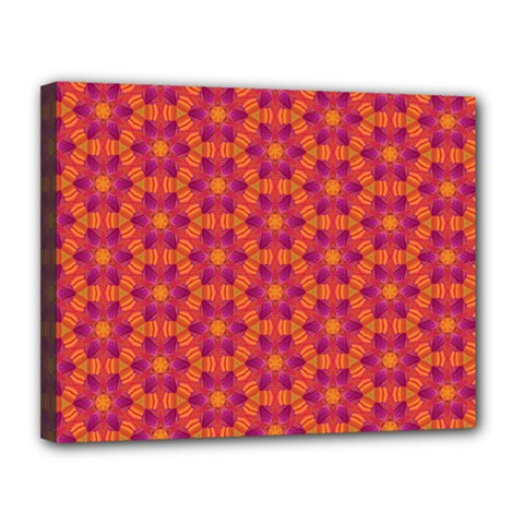 Pattern Abstract Floral Bright Canvas 14  X 11  by Nexatart