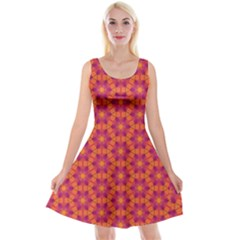 Pattern Abstract Floral Bright Reversible Velvet Sleeveless Dress
