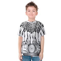 National Emblem Of India  Kids  Cotton Tee by abbeyz71