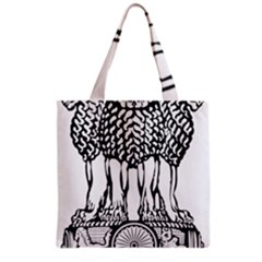 National Emblem Of India  Grocery Tote Bag by abbeyz71