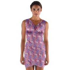 Pattern Abstract Squiggles Gliftex Wrap Front Bodycon Dress