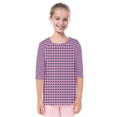 Pattern Grid Background Kids  Quarter Sleeve Raglan Tee