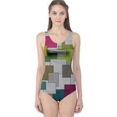 Decor Painting Design Texture One Piece Swimsuit