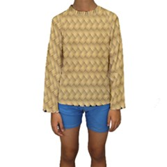 Wood Illustrator Yellow Brown Kids  Long Sleeve Swimwear