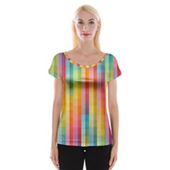 Background Colorful Abstract Women s Cap Sleeve Top