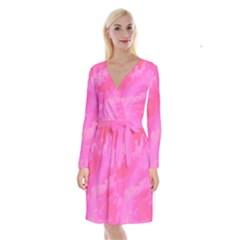 Sky pattern Long Sleeve Velvet Front Wrap Dress