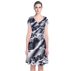 Sky Pattern Short Sleeve Front Wrap Dress by Valentinaart