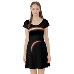 Planet Space Abstract Short Sleeve Skater Dress