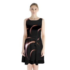 Planet Space Abstract Sleeveless Chiffon Waist Tie Dress
