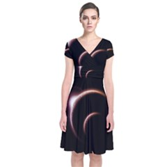 Planet Space Abstract Short Sleeve Front Wrap Dress
